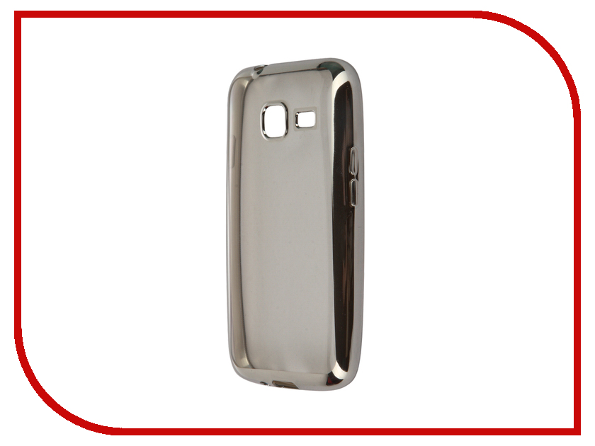 Аксессуар Чехол-накладка Samsung Galaxy J1 mini (2016) SkinBox Silicone Chrome Border 4People Silver T-S-SGJ1M2016-008<br>