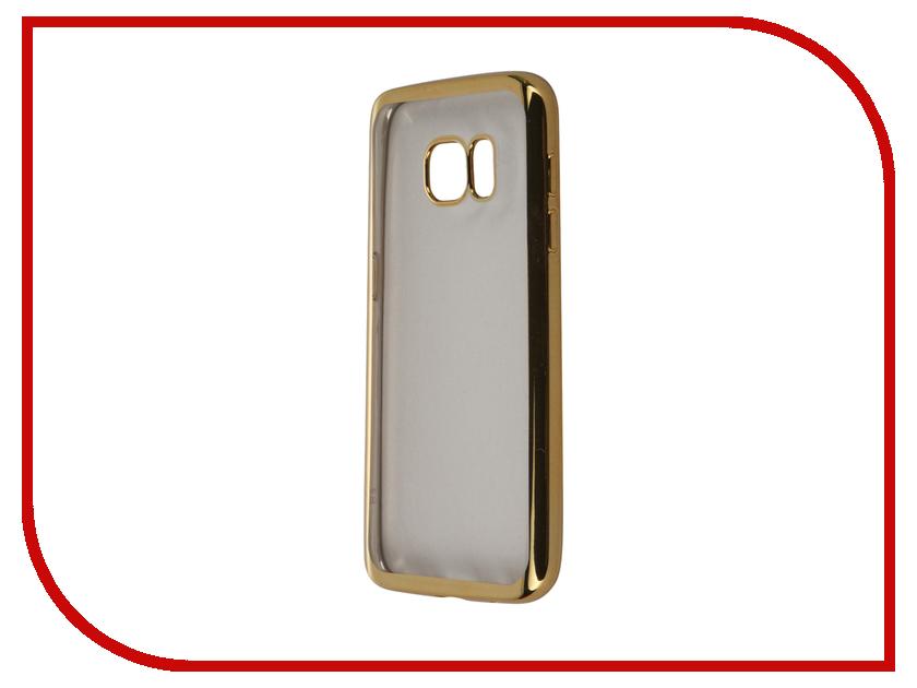 Аксессуар Чехол-накладка Samsung Galaxy S7 SkinBox Silicone Chrome Border 4People Gold T-S-SGS7-008<br>