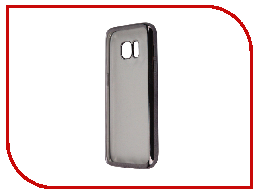 Аксессуар Чехол-накладка Samsung Galaxy S7 SkinBox Silicone Chrome Border 4People Dark Silver T-S-SGS7-008<br>