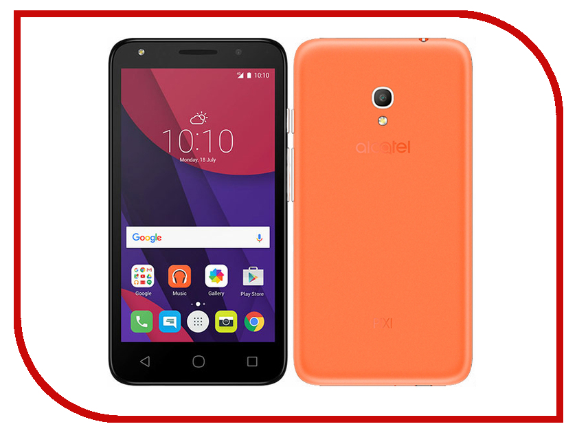 Сотовый телефон Alcatel OneTouch 5045D PIXI 4 Amber Orange сотовый телефон alcatel onetouch 5070d pop star soft slate silver gold