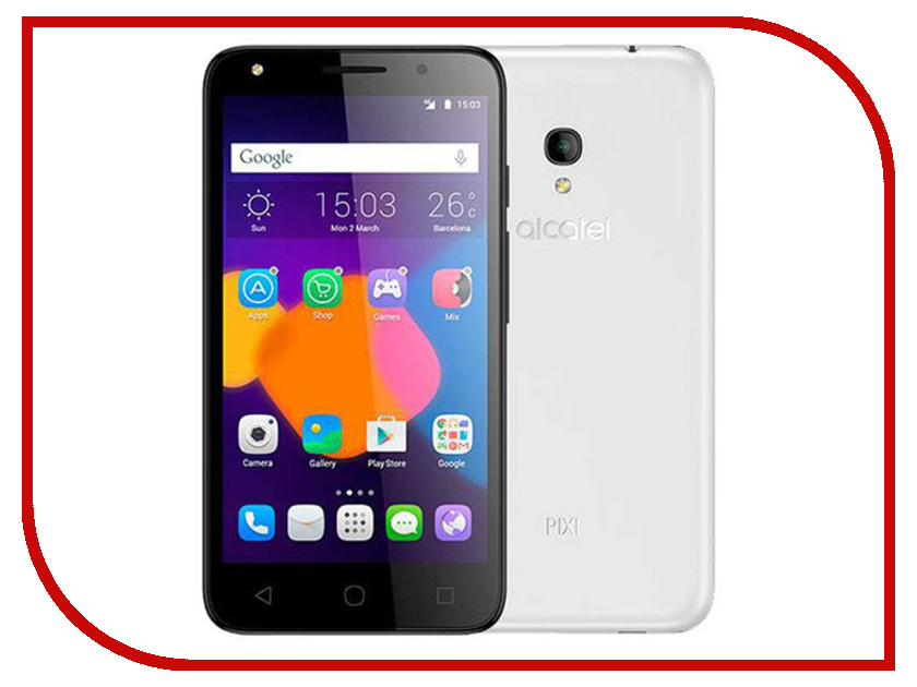 Сотовый телефон Alcatel OneTouch 5045D PIXI 4 Full White чехол флип кейс alcatel flipcover для alcatel pixi 4 5045 белый [g5045 3balfcg]