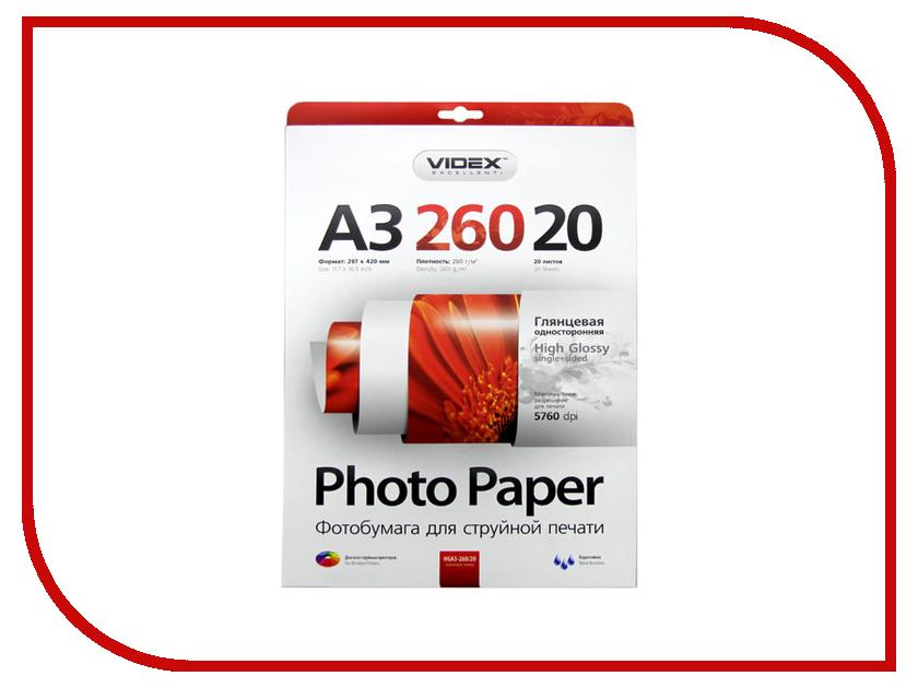 Фотобумага Videx HGA3-260/20 29.7x42 260g/m2 глянцевая 20 листов<br>