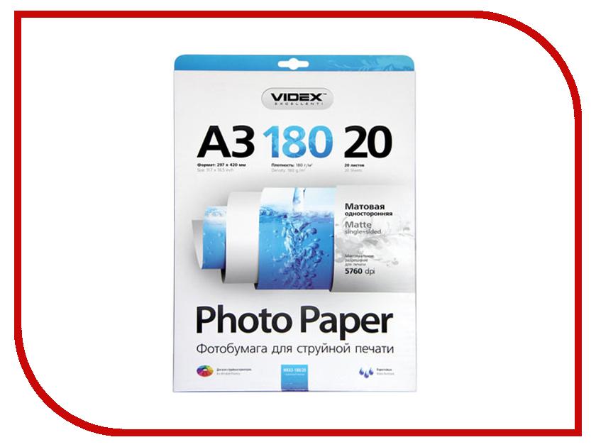 Фотобумага Videx MKA3-180/20 29.7x42 180g/m2 матовая 20 листов<br>