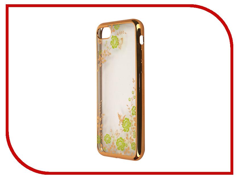 Аксессуар Чехол SkinBox Silicone Chrome Border Color Style 1 4People для iPhone 7 Green T-S-AI7-009<br>