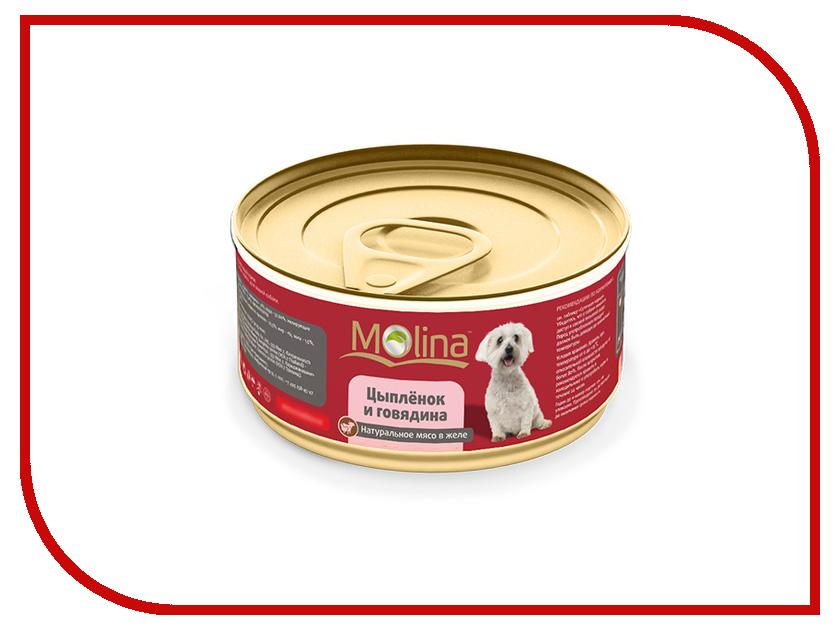 Корм Molina Цыпленок с говядиной в желе 80g для собак 1044 цыпленок в соусе molina