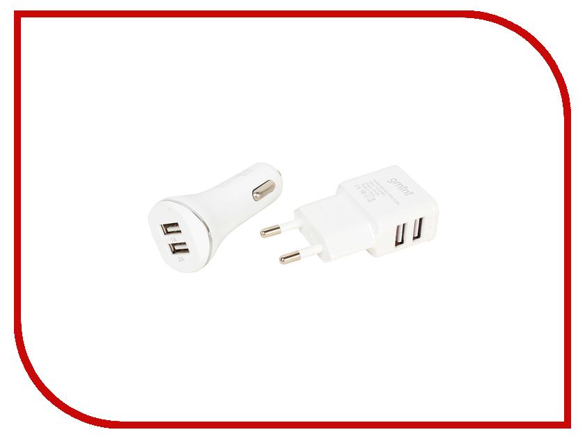 Gmini Зарядное устройство Gmini 2 USB White GM-MC-001-2USB + автомобильное
