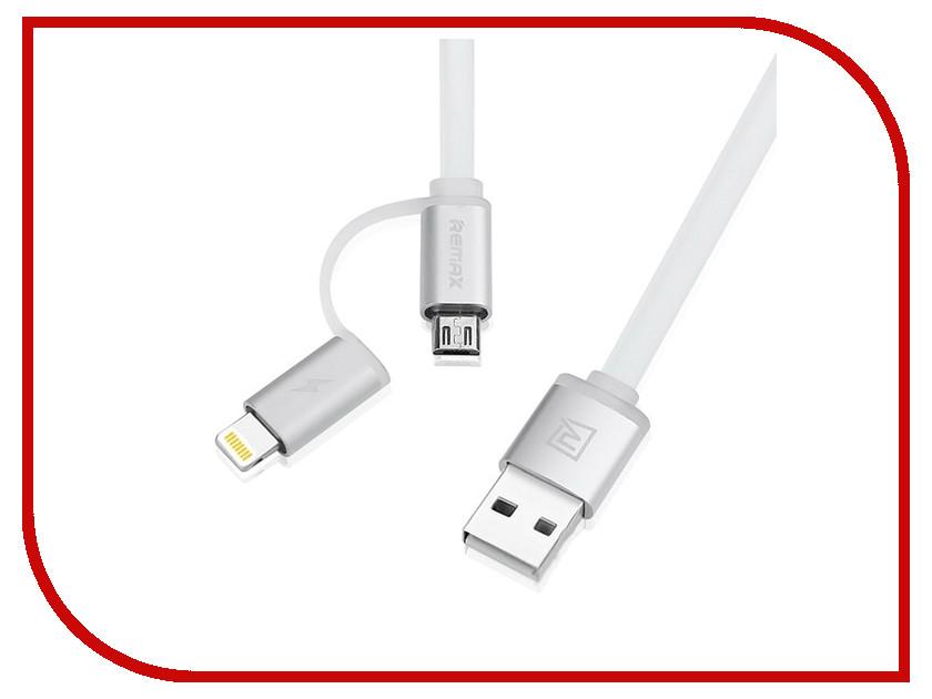 Аксессуар Remax Lightning + microUSB Aurora 2 в 1 для iPhone 6/6 Plus 1m White 14309<br>