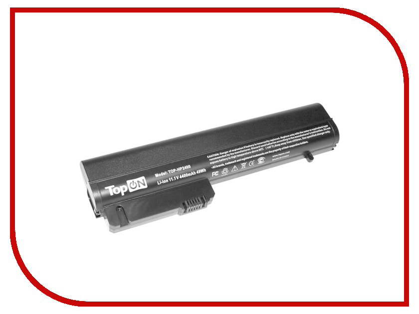Аккумулятор TopON TOP-HP2400 10.8V 4400mAh Black для HP 2533t Mobile Thin Client/EliteBook 2530p/2400/2510p/nc2400