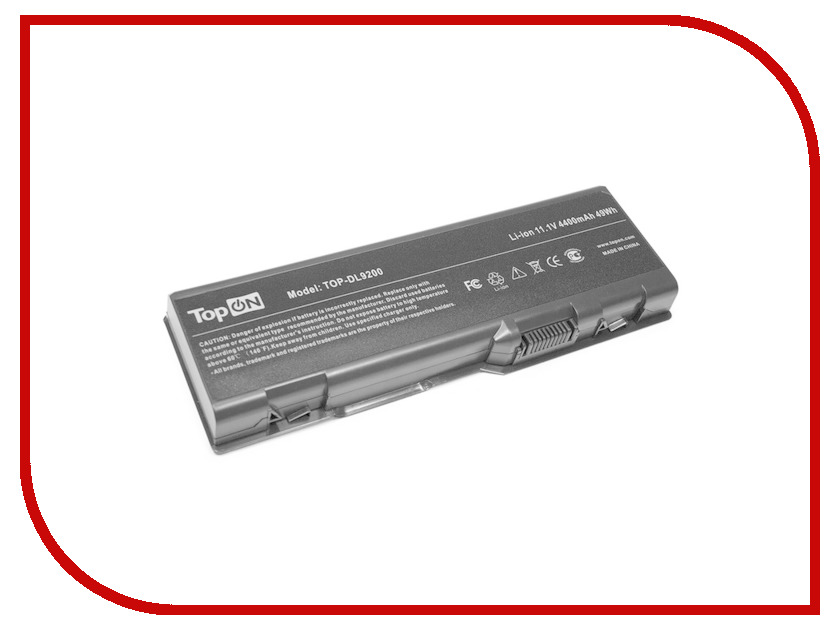 Аккумулятор TopON TOP-DL9200 11.1V 4400mAh для Dell Inspiron 6000/9200/9300/9400/E1705/XPS Gen 2/XPS M170/XPS M1710/Precision M6300/M90 Series аналог PN: G5266 G5260 D5318 310-6321 310-6322