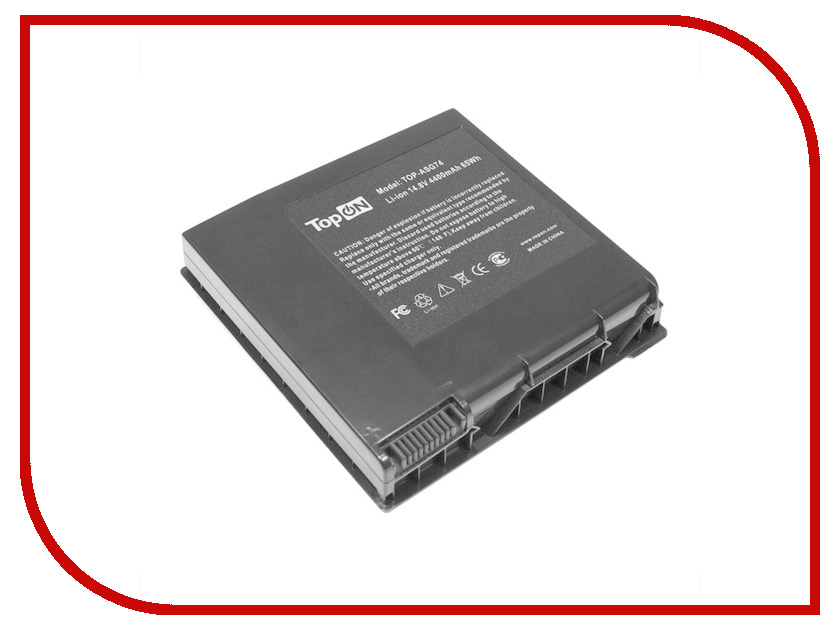 Аккумулятор TopON TOP-ASG74 14.8V 4400mAh для ASUS G74/G74J/G74JH/G74S/G74SW/G74SX Series аналог PN: A42-G74/ICR18650-26F/LC42SD128
