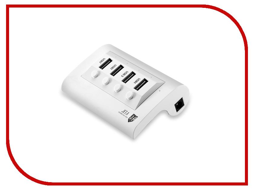 Хаб USB Jet.A JA-UH14 USB 4 ports White<br>