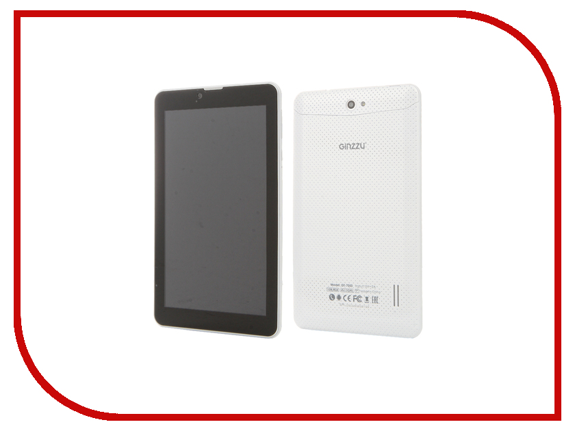 Планшет Ginzzu GT-7050 White (Spreadtrum SC7731 1.3 GHz/1024Mb/8Gb/Wi-Fi/3G/Bluetooth/Cam/7.0/1024x600/Android)<br>