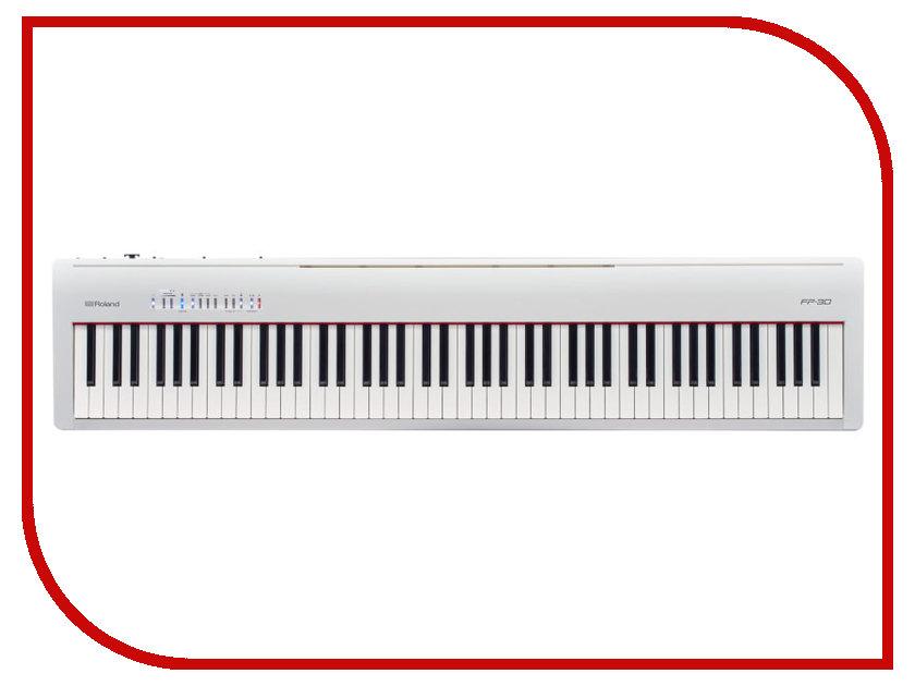 Цифровое фортепиано Roland FP-30-WH White кейс для клавишных инструментов thon keyboard case roland fp 30
