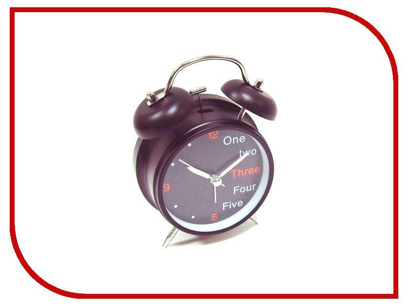 Часы настольные Эврика Будильник D-11.6cm One, Two, Three Black 91862<br>