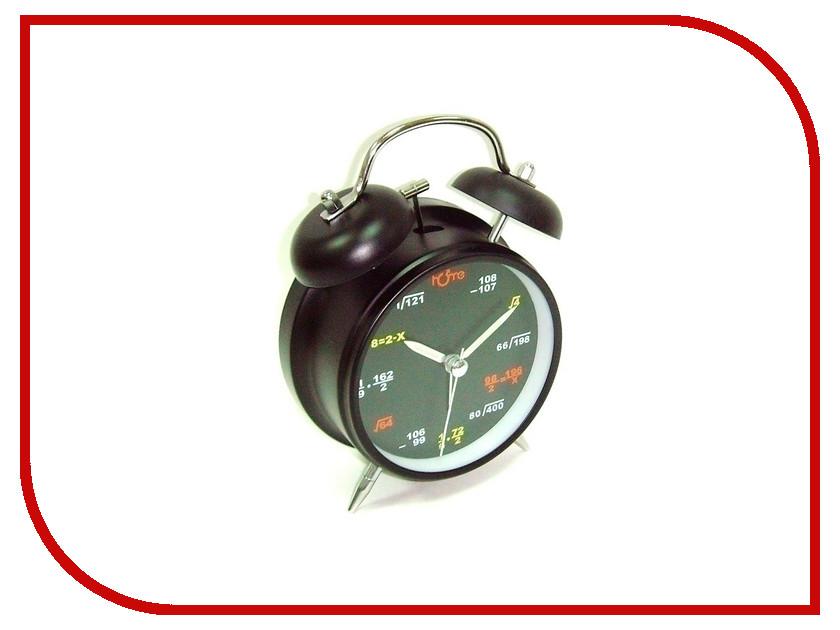 Часы настольные Эврика Будильник D-11.6cm формулы на циферблате Black 91859