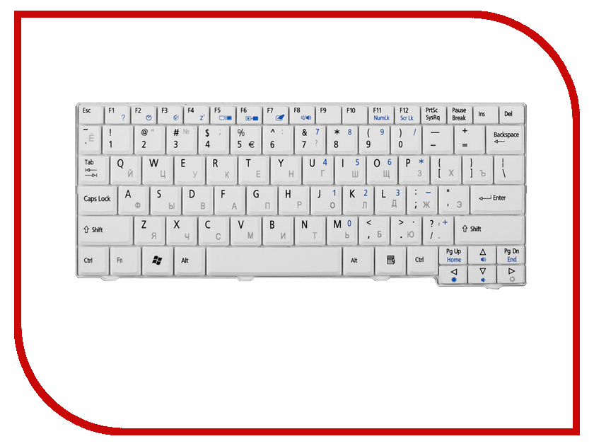 Клавиатура TopON TOP-73401 для Acer Aspire One A110 / A110X 110L / 150 / A150X / 150L / ZG5 Series / D250 Series White блок питания topon top ac02 19v 65w для asus a6 f2 f3 w5 u5 lenovo acer aspire ferrari