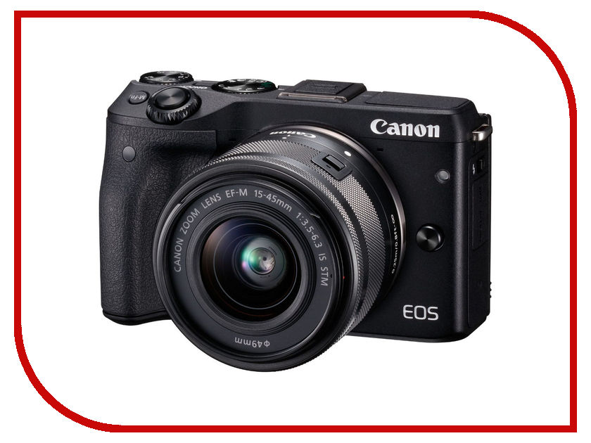 Фотоаппарат Canon EOS M3 Kit EF-M 15-45 IS STM Black фотоаппарат зеркальный canon eos 200d ef s 18 55 is stm kit black