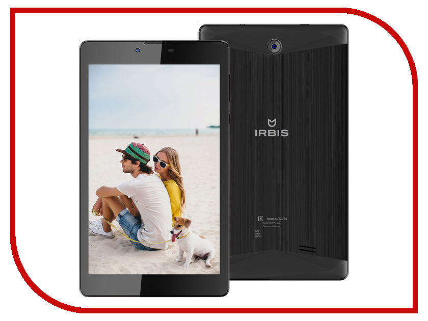 Планшет Irbis TZ735 Black SC7730 1.3 GHz/1024Mb/8Gb/3G/Wi-Fi/Bluetooth/Cam/7.0/1280x800/Android<br>