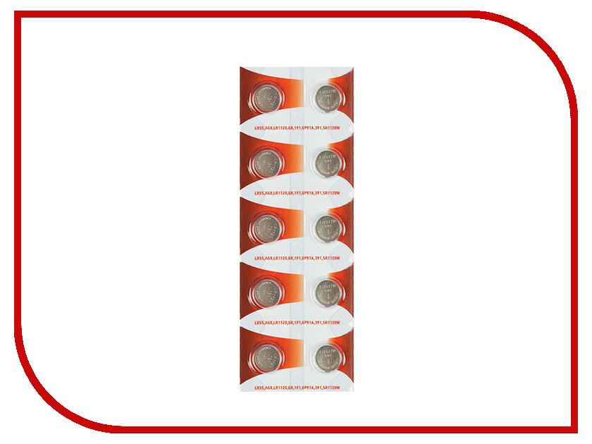 Батарейка Rexant LR55/AG8/LR1120/G8/191/GP91A/391/SR1120W 30-1033 (10 штук) батарейка rexant lr58 ag11 lr721 g11 162 gp62a 362 sr721w 30 1030 2 штуки