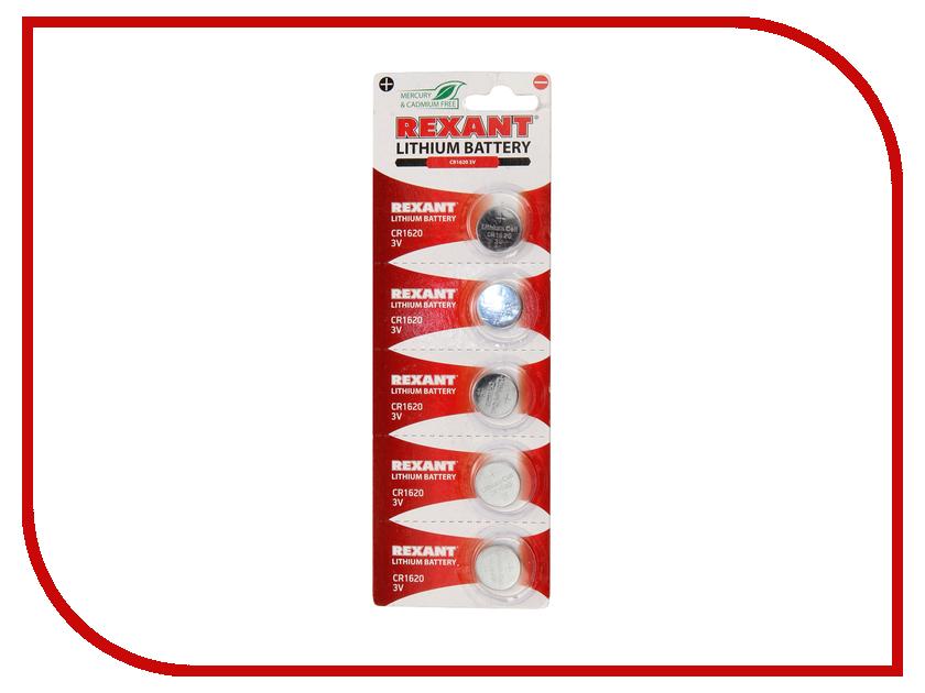 Батарейка CR1620 - Rexant 3V 70 mAh 30-1105 (5 штук) батарейка rexant lr45 ag9 lr936 g9 194 gp94a 394 sr936w 30 1032 2 штуки