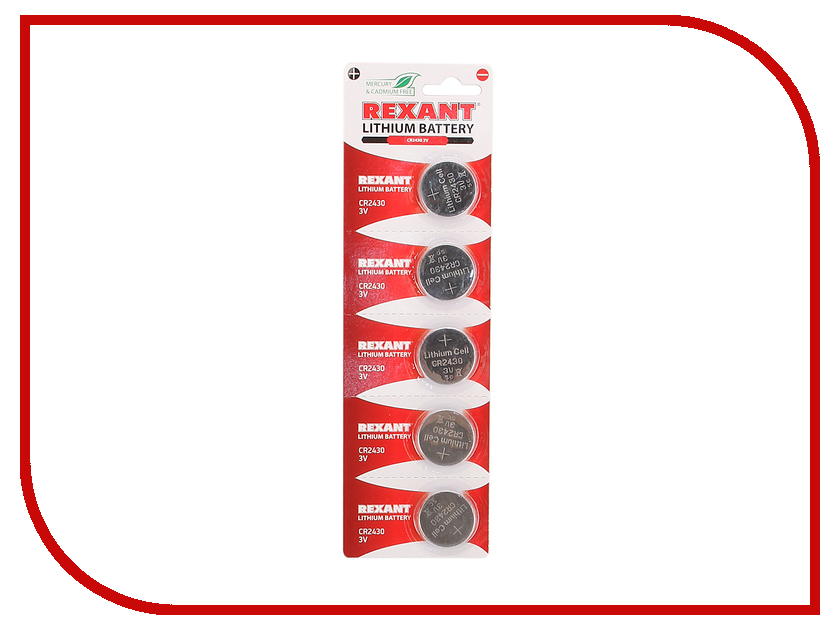Батарейка CR2430 - Rexant 3V 300 mAh 30-1109 (5 штук) лонгслив printio z nation