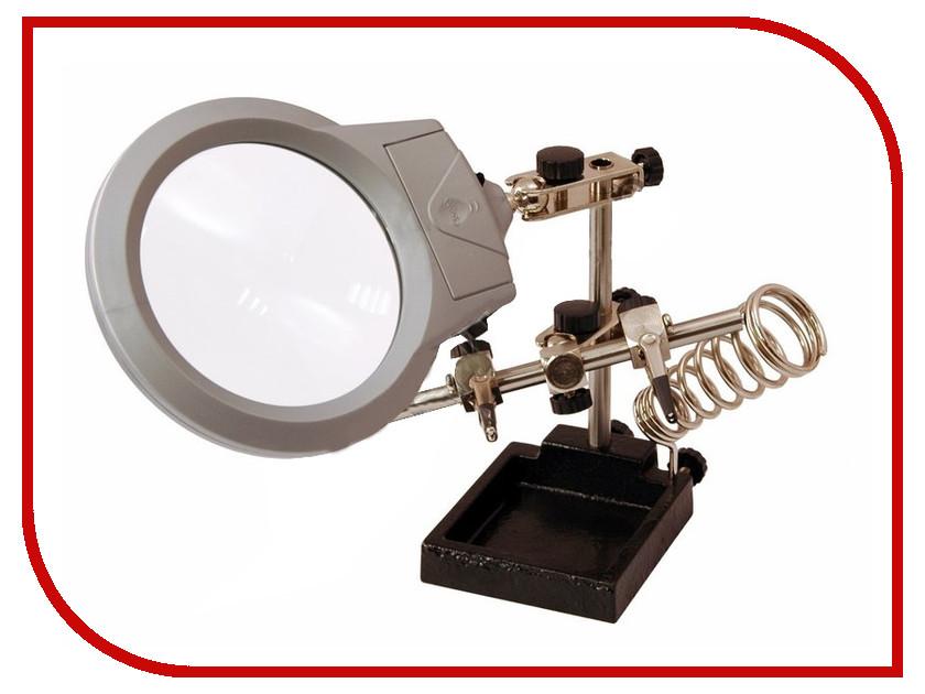 Держатель третья рука Rexant ZD-10M с лупой 2.5x, подставкой под паяльник и LED подсветкой CT-293 LED 12-0253 держатель третья рука jakemy с линзой и подставкой под паяльник jm508