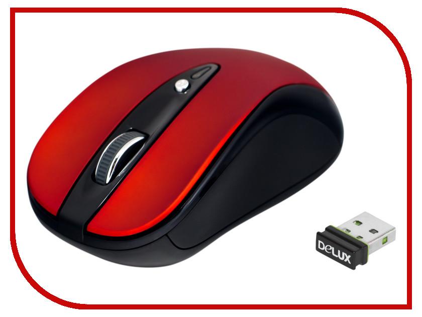Мышь беспроводная Delux DLM-483LGR Red-Black<br>