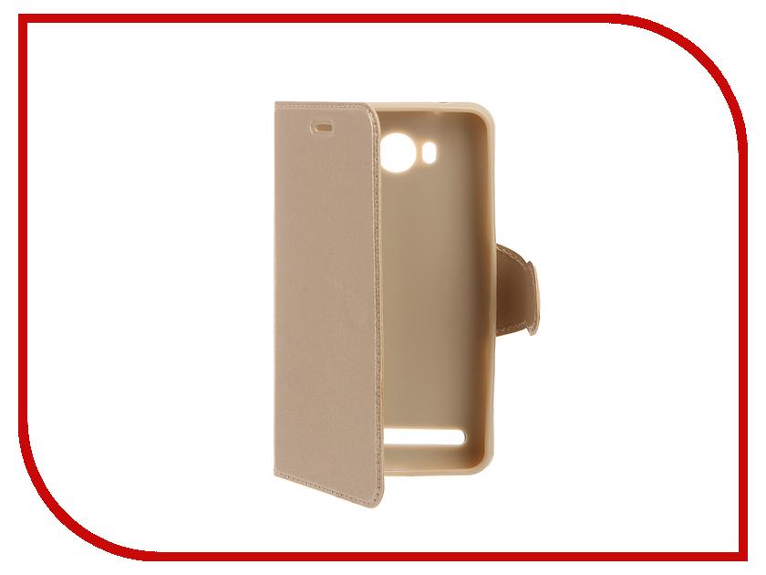 Аксессуар Чехол Huawei Y3II Red Line Book Type Gold<br>