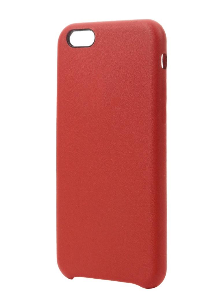 Аксессуар Чехол Krutoff для APPLE iPhone 6 / 6S Leather Case Red 10755 аксессуар чехол joyroom для iphone 6 6s transparent 16127