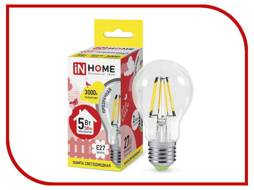 Лампочка IN HOME LED-A60-deco 5W 3000K 230V 450Lm E27 Clear 4690612008028<br>