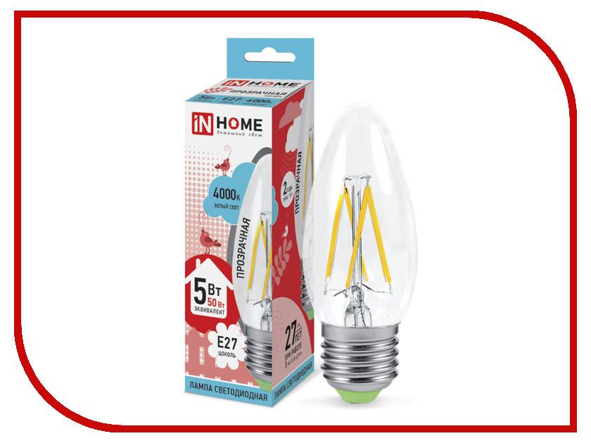 все цены на Лампочка IN HOME LED-СВЕЧА-deco E27 5W 4000K 230V 450Lm Clear 4690612007595 онлайн