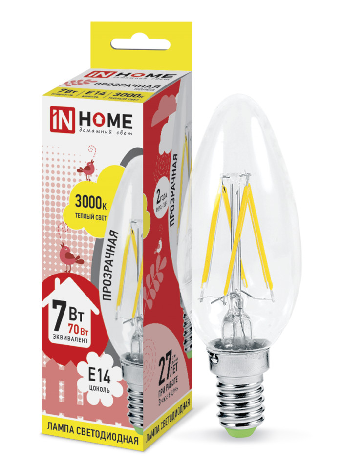 Лампочка In Home LED-СВЕЧА-deco E14 7W 3000K 230V 630Lm Clear 4690612007601