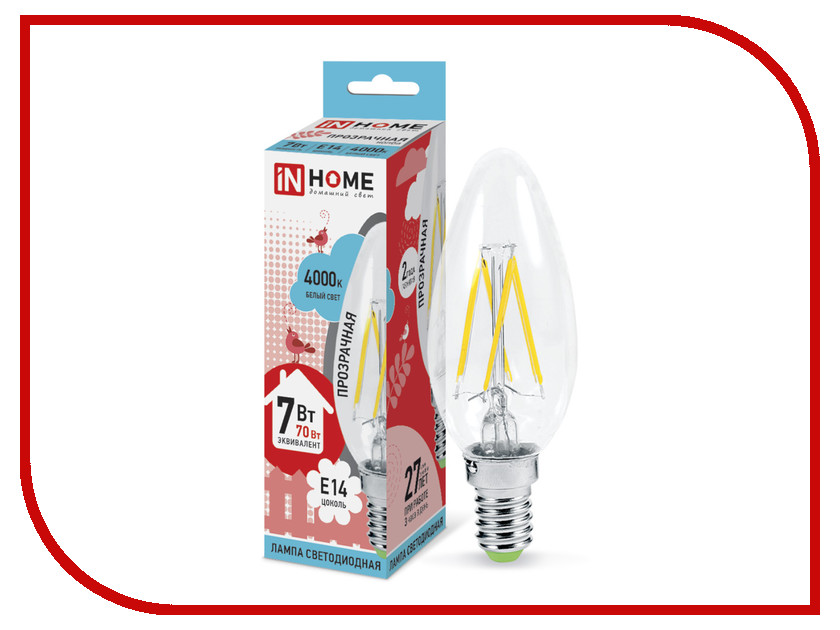 Лампочка IN HOME LED-СВЕЧА-deco 7W 4000K 230V 630Lm E14 Clear 4690612007618<br>