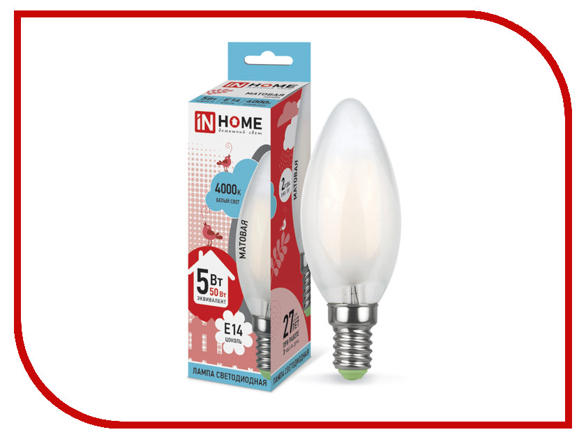 Лампочка IN HOME LED-СВЕЧА-deco 5W 4000K 230V 450Lm E14 Matte 4690612006765
