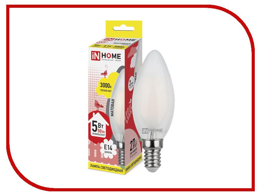 все цены на Лампочка IN HOME LED-СВЕЧА-deco E14 5W 3000K 230V 450Lm Matte 4690612006826 онлайн