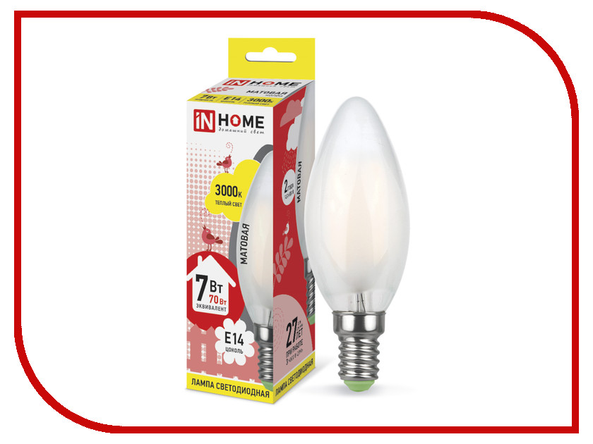 Лампочка IN HOME LED-СВЕЧА-deco 7W 3000K 230V 630Lm E14 Matte 4690612006772 лампочка in home led свеча на ветру deco 7w 3000k 230v 630lm e14 clear 4690612007663