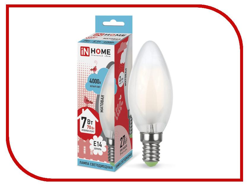 Лампочка IN HOME LED-СВЕЧА-deco 7W 4000K 230V 630Lm E14 Matte 4690612006789 лампочка in home led свеча deco 5w 4000k 230v 450lm e14 matte 4690612006765
