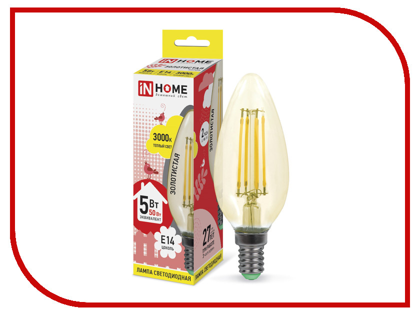 Лампочка IN HOME LED-СВЕЧА-deco 5W 3000K 230V 450Lm E14 Gold 4690612007182<br>