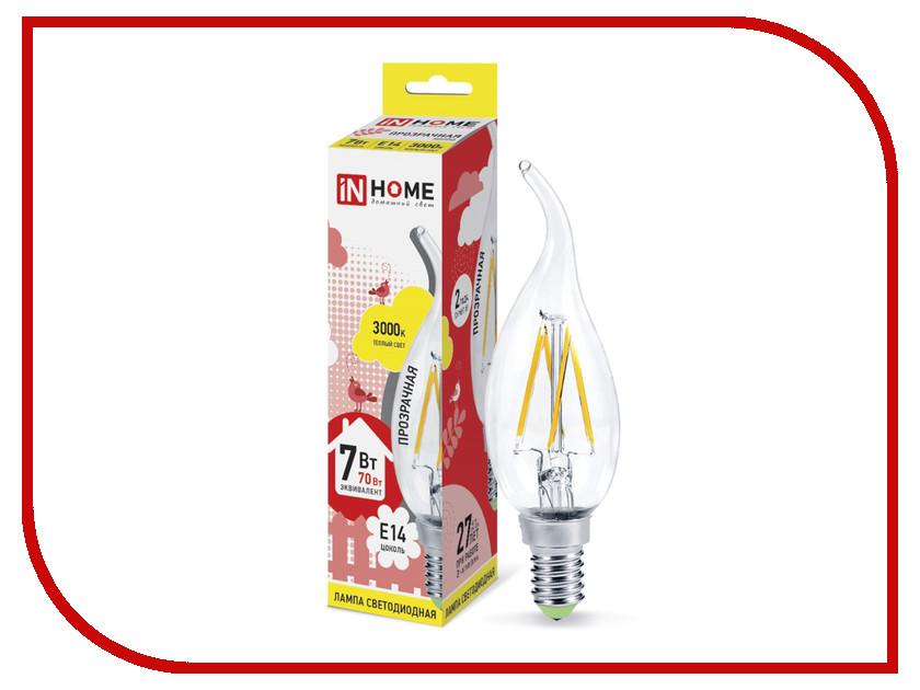 Лампочка IN HOME LED-СВЕЧА НА ВЕТРУ-deco 7W 3000K 230V 630Lm E14 Clear 4690612007663 лампочка in home led свеча на ветру deco 7w 3000k 230v 630lm e14 clear 4690612007663