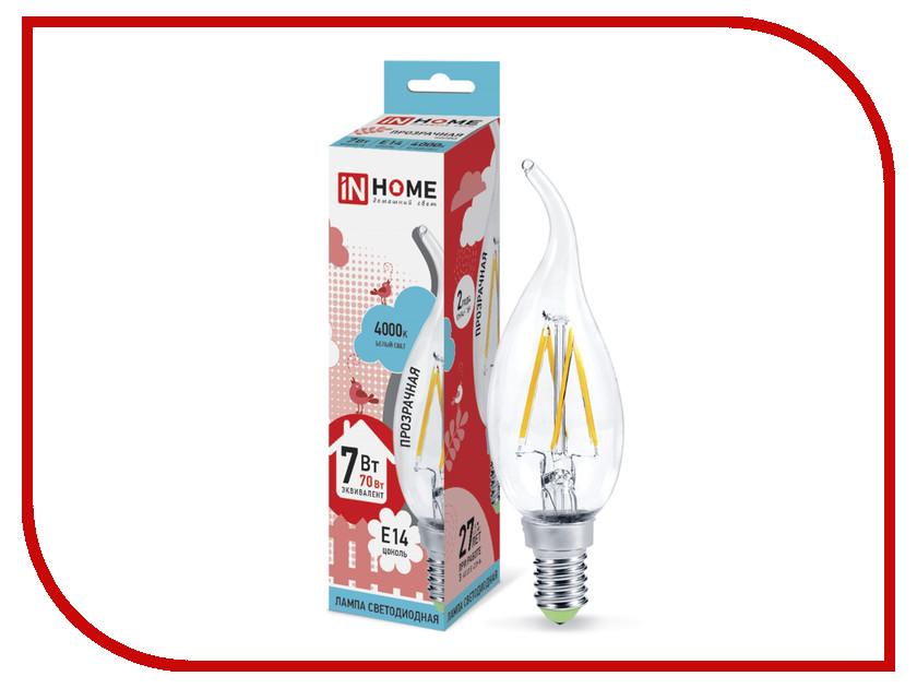 Лампочка IN HOME LED-СВЕЧА НА ВЕТРУ-deco 7W 4000K 230V 630Lm E14 Clear 4690612007670 лампочка in home led свеча на ветру deco 7w 3000k 230v 630lm e14 clear 4690612007663