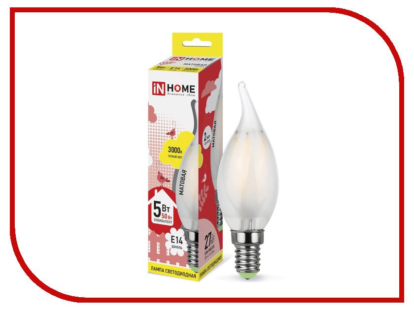 Лампочка IN HOME LED-СВЕЧА НА ВЕТРУ-deco 5W 3000K 230V 450Lm E14 Matte 4690612006796<br>