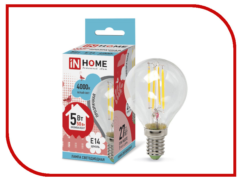 Лампочка IN HOME LED-ШАР-deco 5W 4000K 230V 450Lm E14 Clear 4690612007694<br>