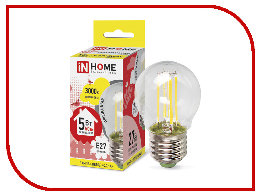 IN HOME - Лампочка IN HOME LED-ШАР-deco 5W 3000K 230V 450Lm E27 Clear 4690612007700