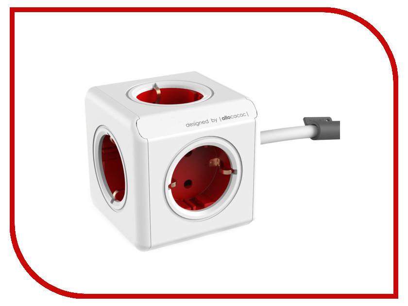 Сетевой фильтр Allocacoc PowerCube Extended DE 1.5m Red 1300RD/DEEXPC