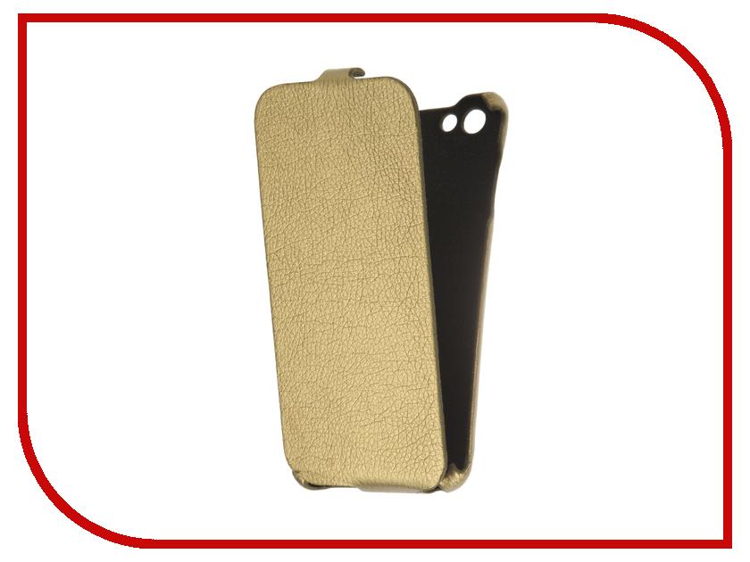 Аксессуар Чехол BQ BQS-5505 Amsterdam Cojess Ultra Slim Экокожа флотер Gold  цена