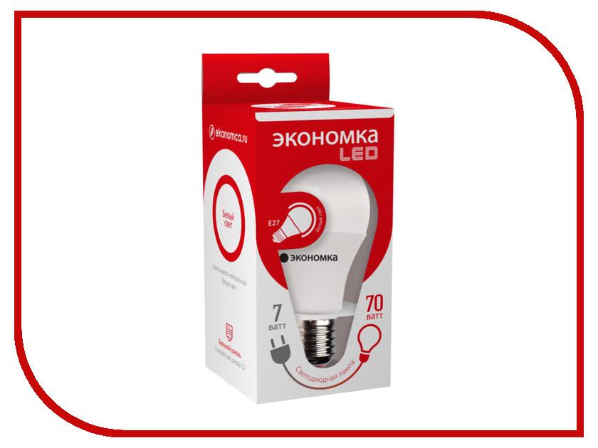 Лампочка Экономка A60 7W E27 230V 4500K Eco_LED7WA60E2745 упаковка ламп 3 шт экономка рефлектор r50 6вт е14 230v 4500k белый свет