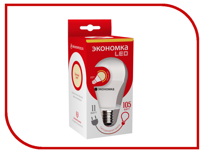 Лампочка Экономка A60 11W E27 230V 4500K Eco_LED11WA60E2745<br>