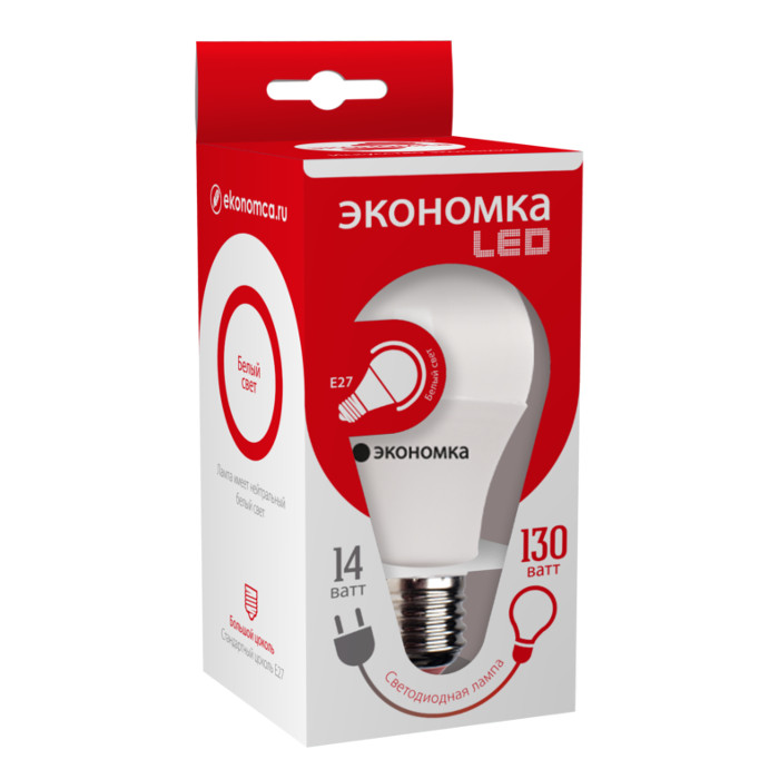 Лампочка Экономка E27 A60 14W 230V 4500K EcoL14WA60230vE2745