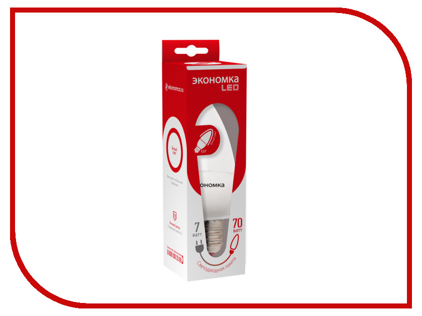 Лампочка Экономка Свеча 7W E27 230V 4500K Eco_LED7WCNE2745<br>