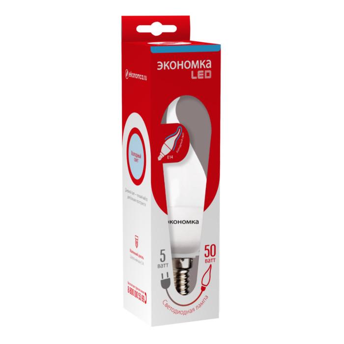 Лампочка Экономка Свеча на ветру E14 5W 230V 6500K 450Lm Cold Light Eco_LED5WCWE1465